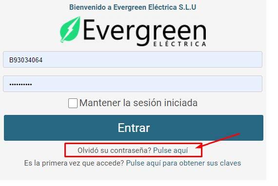 Olvidar contraseña Evergreen Eléctrica