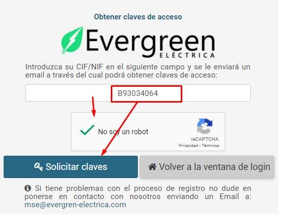Solicitar claves Evergreen Eléctrica